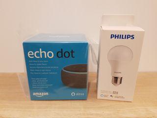 Echo Dot 3a gen + Bombilla WiFi Philips Xiaomi