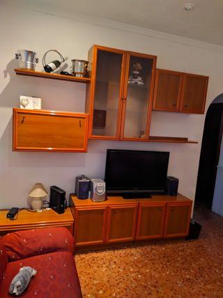 Salón, TV, estantería, mueble modular