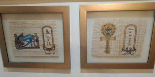Dos cuadros Egipto Ra/Ank