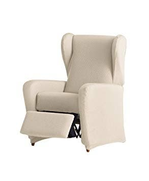 2 fundas de sillón relax blanco roto