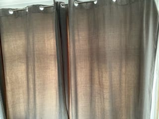 Pair of grey velour curtains