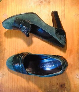 Zapatos italianos de tacón en piel Oropuro
