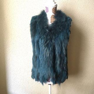 Chaleco de piel verde/azulado