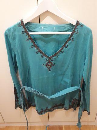Blusa mujer color agua marina tipo hippy
