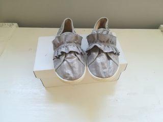 zapatillas zapatos grises brillo número 26
