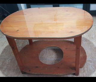 mesa camilla ovalada con cristal