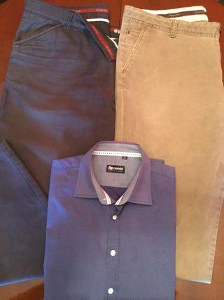 2 pantalones hombre,talla 52 y camisa talla XL.