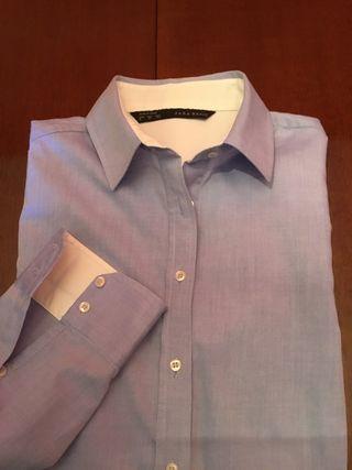 Camisa mujer,talla M, de Zara,celeste y blanca,muy