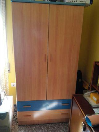 Armario 2 Puertas Plastificado Peral y Azul