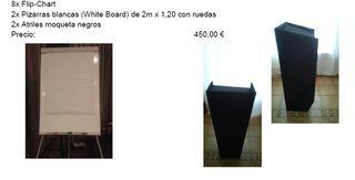 2 Pizarras blancas 2mx1,20m con ruedas + Flipchar