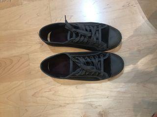 Zapatillas gris oscuro terciopelo
