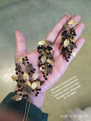 Pendientes + Tocado hechos a mano color oro viejo