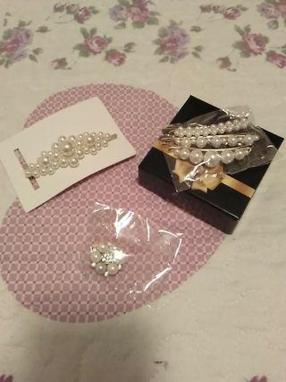 Horquillas tocado perlas novia, nuevo.Broche nuevo