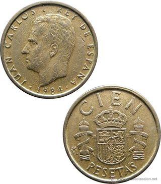 Moneda de cien pesetas año 84