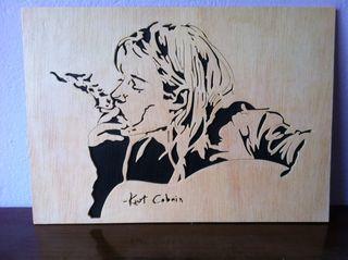 Kurt cobain cuadro de madera calado con sierra