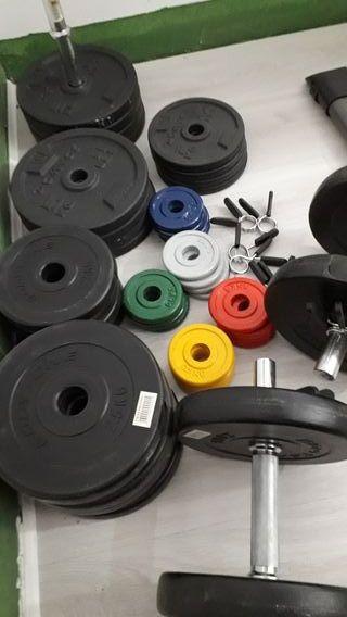 Conjunto pesas: banco, barras, discos y protector