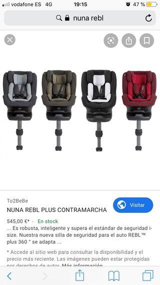 Silla coche Nuna Rebl (SRI contramarcha)