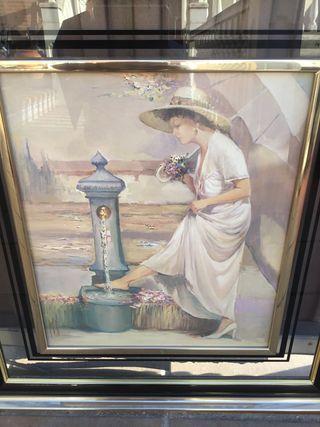 Cuadros en acuarela s.XX enmarcados en cristal
