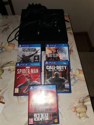 PS4 PRO+2 mandos+5 juegos