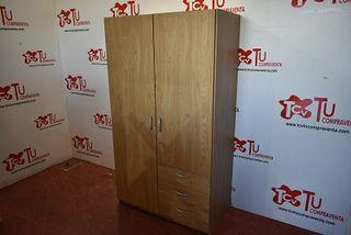 Armario 2 puertas 3 cajones color haya 98 cm