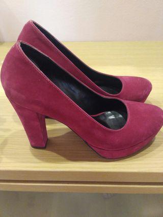 zapatos de tacón rosa talla 38
