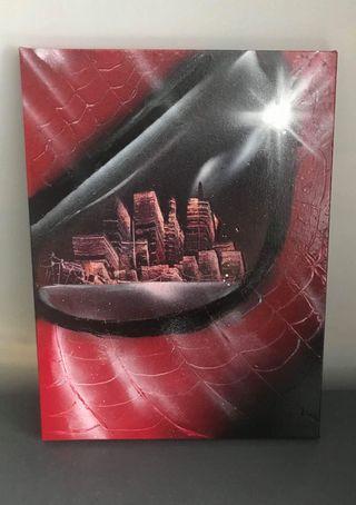 "12"" x 16"" spray painted artwork of spider man"