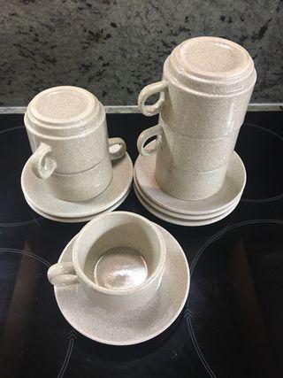 Juego tazas y platos café. 6 servicios