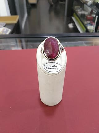 anillo plata de ley 925 con rubí
