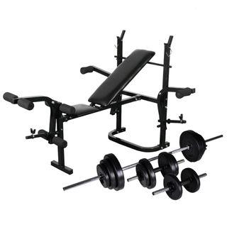 Banco musculación, pesas y mancuernas 30,5 kg