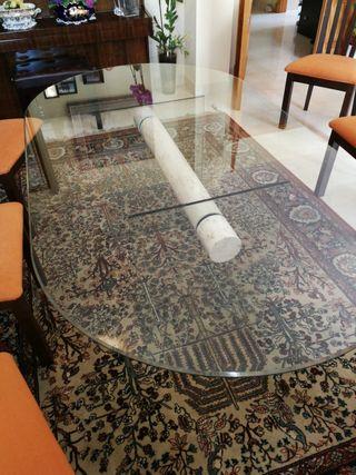 Mesa diseño comedor, cristal y marmol