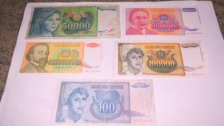 billetes de la antigua Yugoslavia