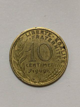 Moneda FRANCIA 10 centimes años 1969 1977 1989