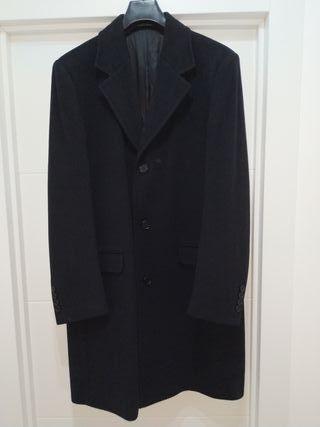 abrigo lana largo negro hombre