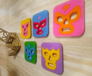 set de posavasos luchadores mexicanos