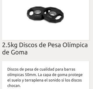 disco 2,5 kg peso olimpico de caucho y asas