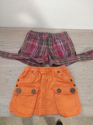 falda y pantalón corto