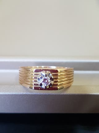 Anillo oro primera ley con diamante hombre