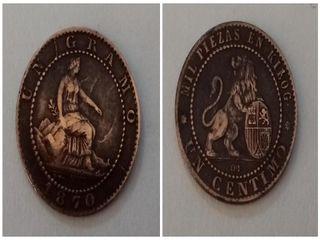 MONEDA COBRE 1 CENTIMO AÑO 1870