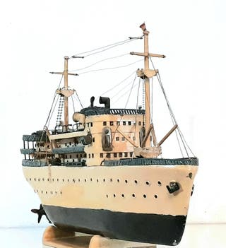Maqueta de barco artesanal, motonave modelismo