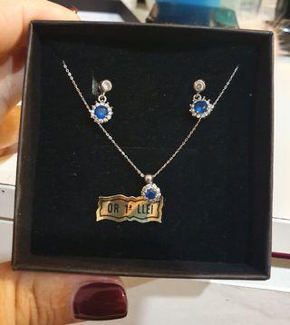 Colgante y cadena oro blanco zafiro y diamantes
