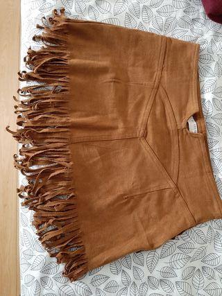 minifalda flecos antelia marron pullandbear