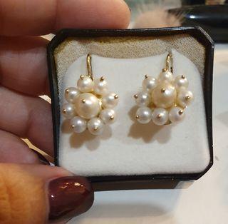 Pendientes perlas de rio