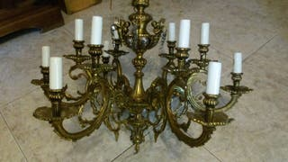 lámpara de bronce y plata