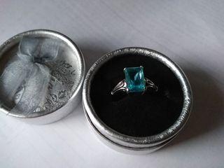 Anillo de cristal, circonita talla rectangular