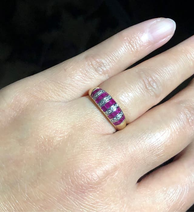 9k Gold Rubies & small DIA Ring