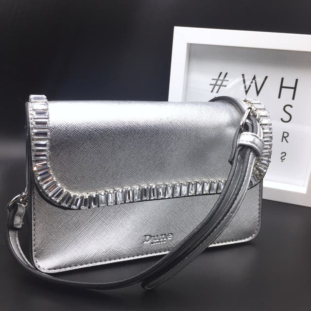 Dune London Silver Leather Bag