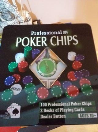 Juego de Poker, fichas y barajas