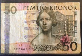 Billete 50 coronas suecas (circulado)