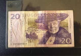 20 coronas suecas (circulado) antigua moneda sueca