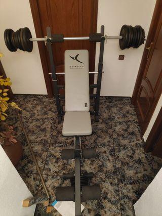 Maquina de musculación + 100kg pesas